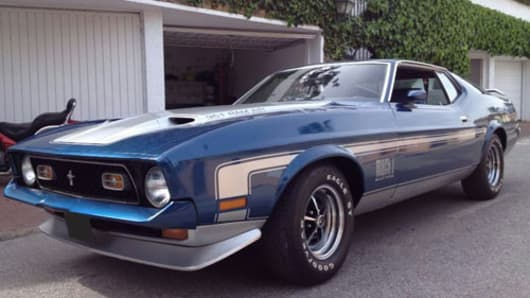 A Ford Mustang confiscated by police from a property in Manchester, U.K.